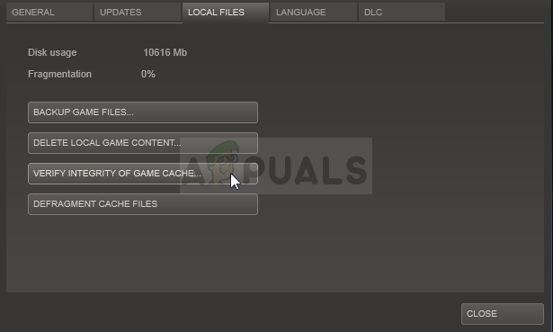 Verify integrity of game files - Steam