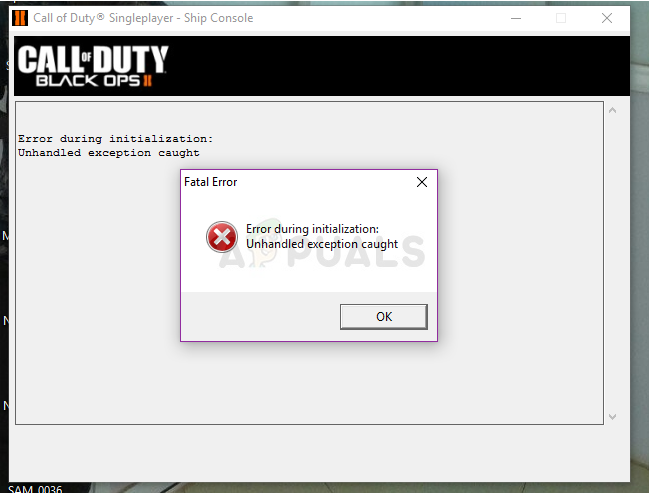 Black Ops 2 - Unhandled exception caught