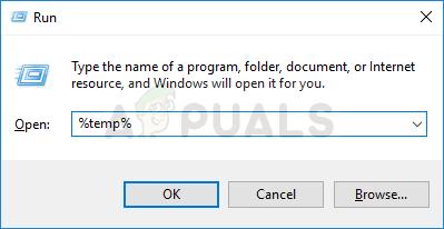 Opening the Temp folder in Run box