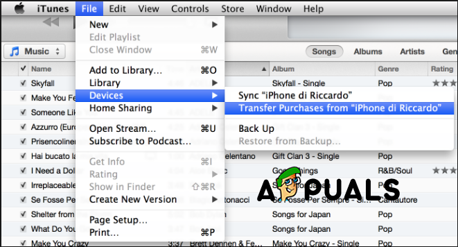 Open Transfer Purchases from iPhone on iTunes