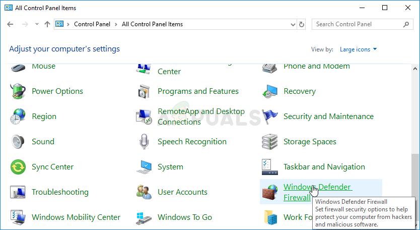 Windows Defender-Firewall in der Systemsteuerung