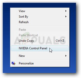 NVIDIA-Systemsteuerung im Desktop Klicken Sie mit der rechten Maustaste auf das Kontextmenü