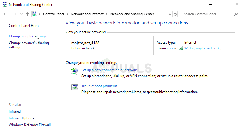 Change adapter settings in Network and Sharing Center