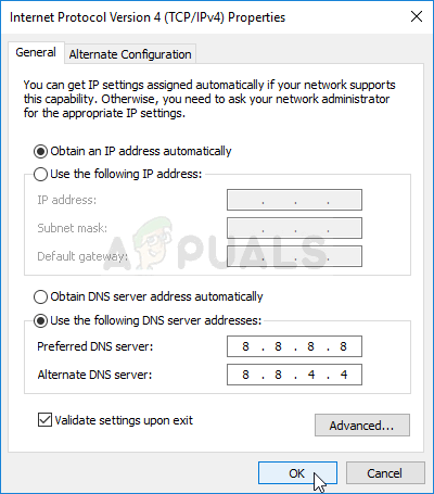 Using the Google DNS address