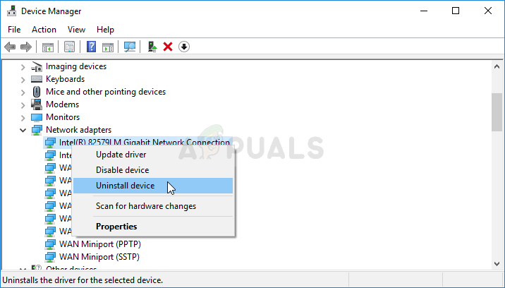 Uninstalling the network adapter