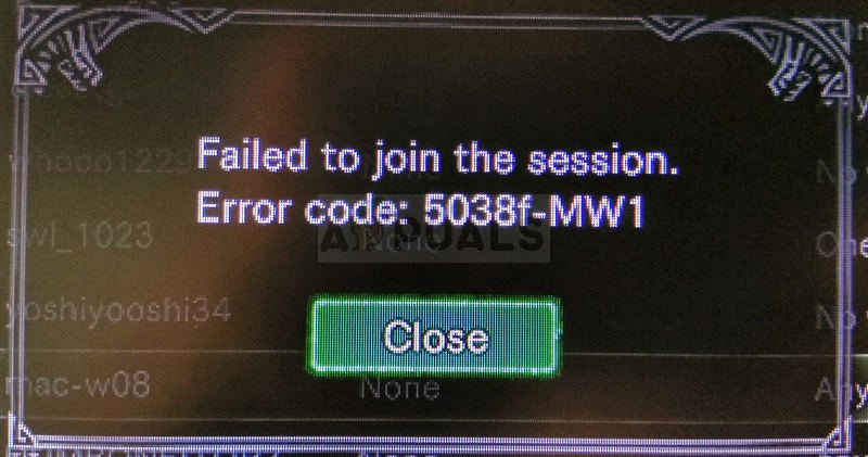 Monster Hunter World Error Code 5038f MW1