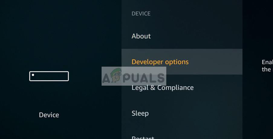 Developer options - Settings in Amazon Firestick