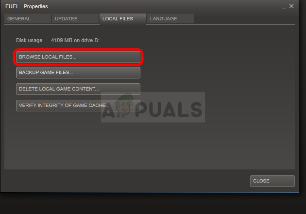 Browse local files for a Steam game