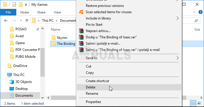 Deleting The Binding of Isaac folder