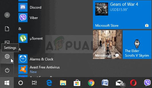 Opening Settings from Start menu