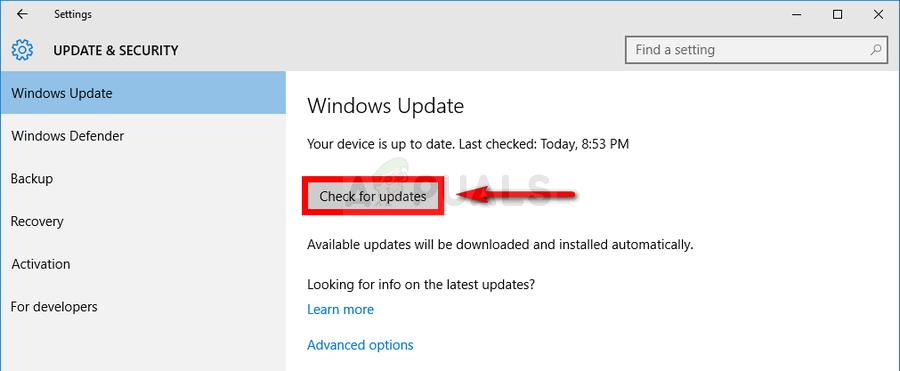 Check for updates on Windows 10