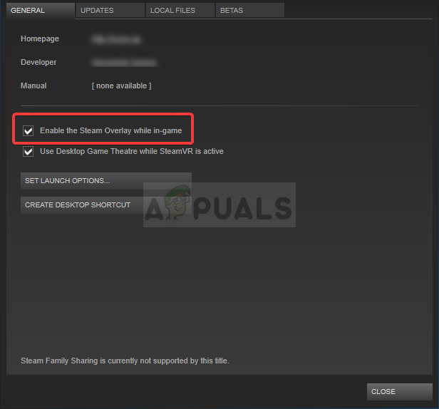 Disabling Steam Overlay for a specific game
