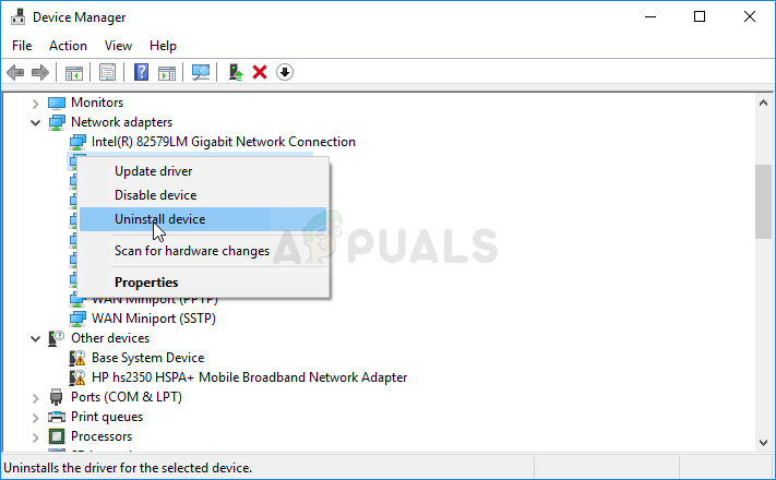 Uninstalling a VPN driver in Device Manager