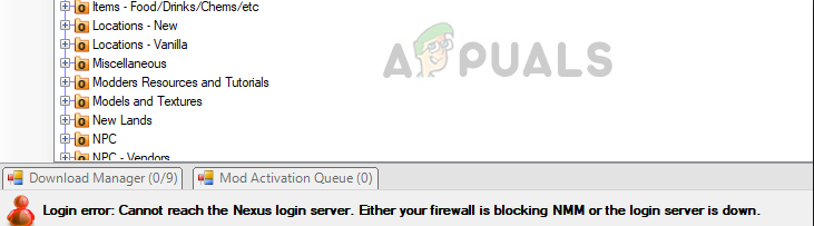Login error in Nexus Mod Manager. Firewall or server error