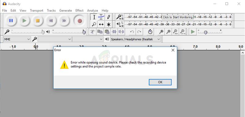 Audacity Error while opening sound device