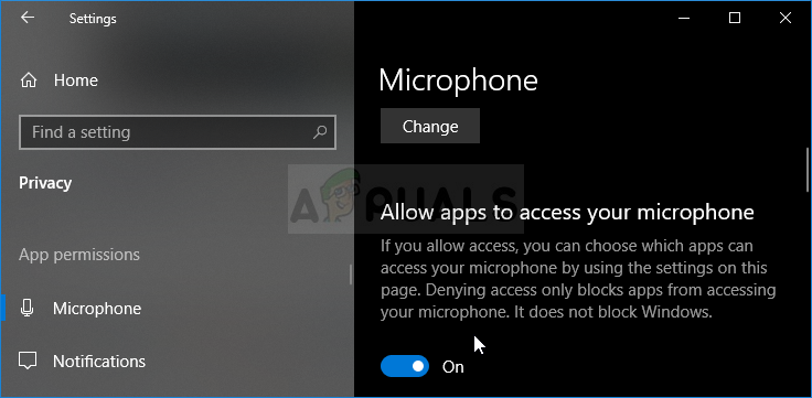 Microphone Permissions in Windows 10 Settings
