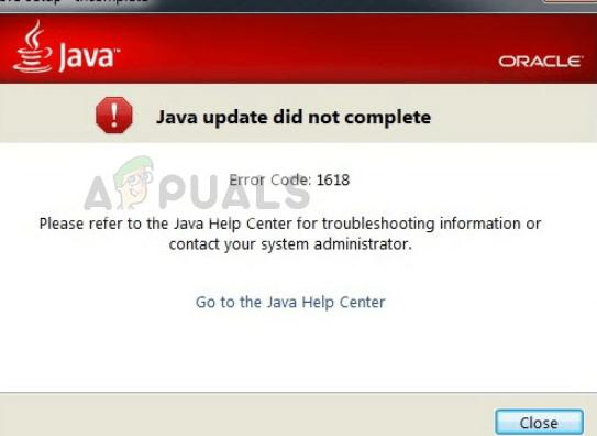 Error Code 1618 While Installing Java