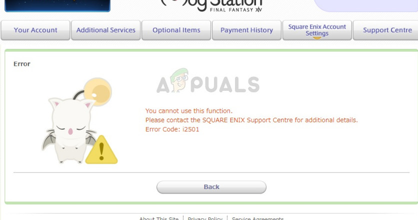 Error code i2501 in Square Enix when making a payment