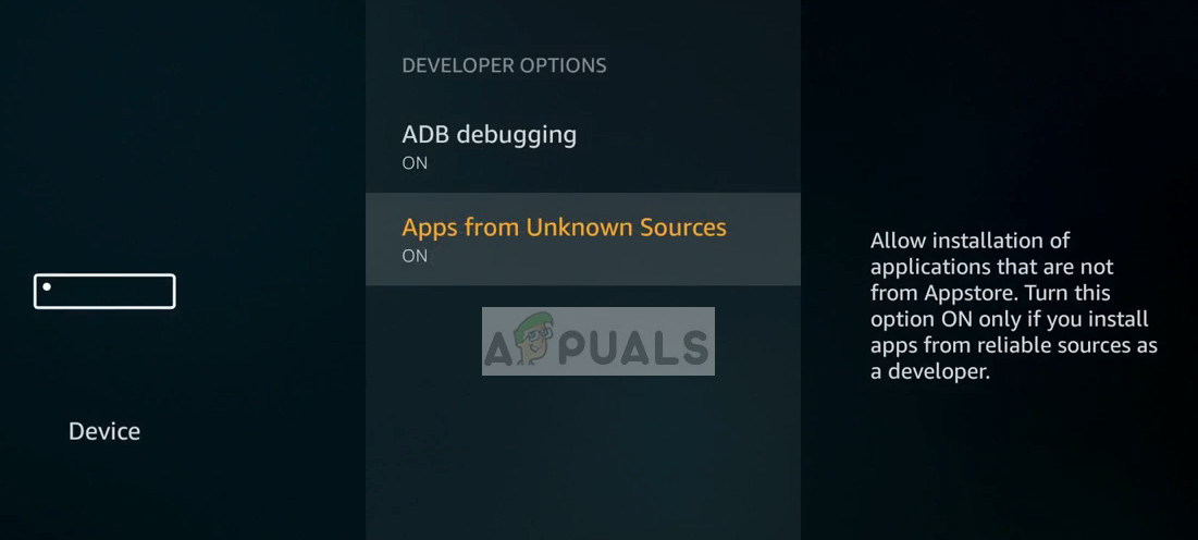 ADB debugging and Apps from Unknown Sources - App permissions in Amazon Firestick