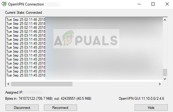 VPN running in OpenVPN GUI