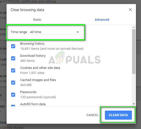 Deleting all browser data in Google Chrome