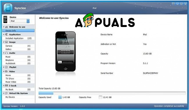 Syncios iPhone Transfer Tool User Interface