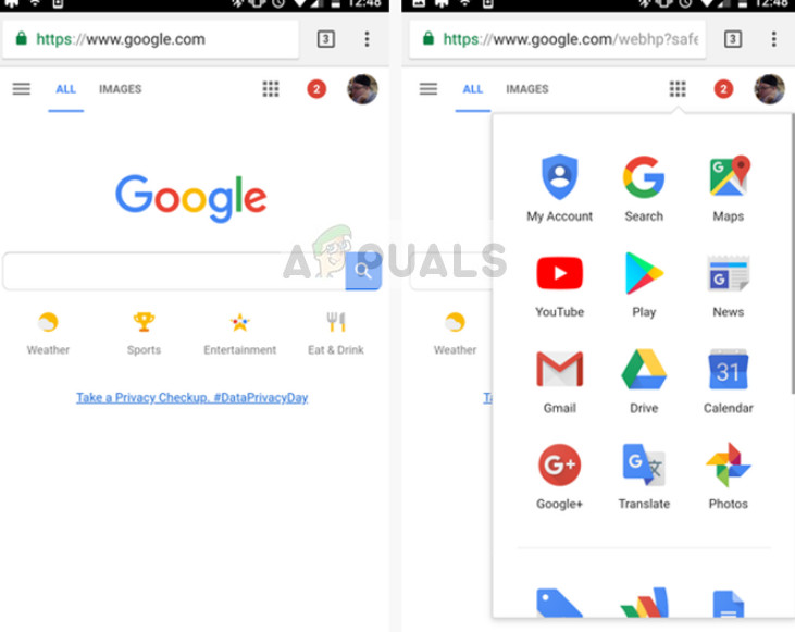 Chrome browser in Android phone