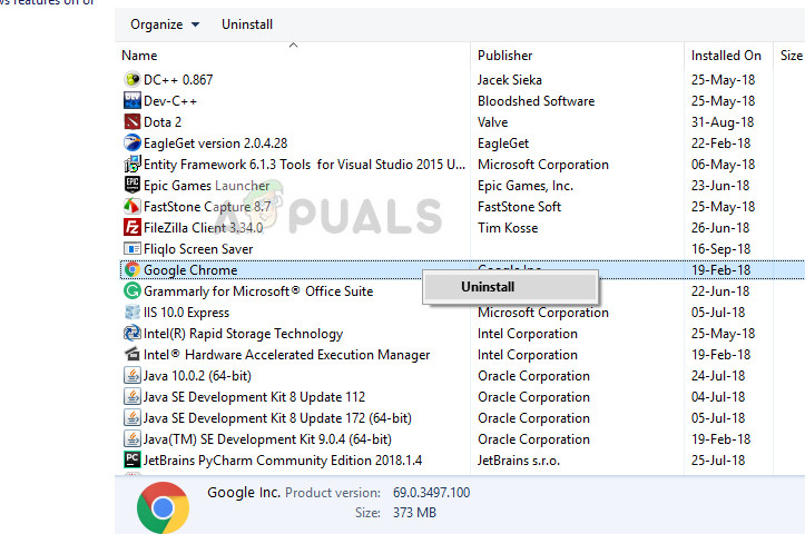 Uninstalling Google Chrome from application manager