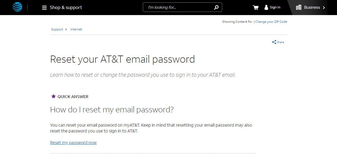 Offizielle Support-Website von AT & T.