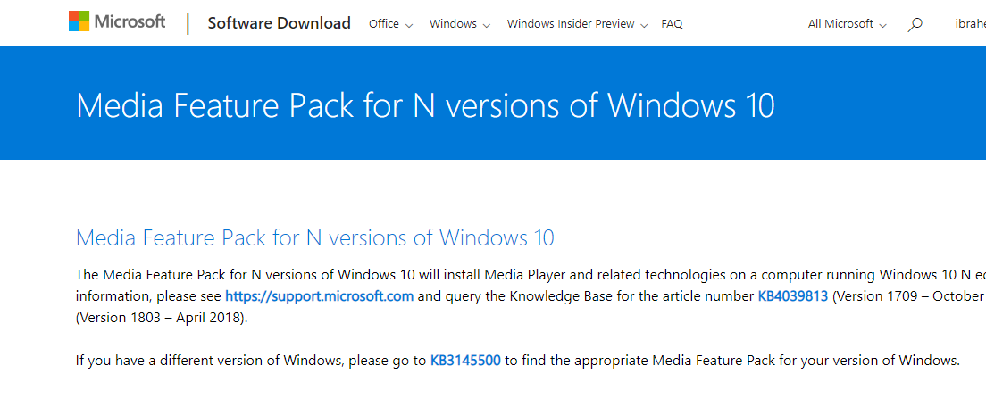 Media Feature Pack for Windows N