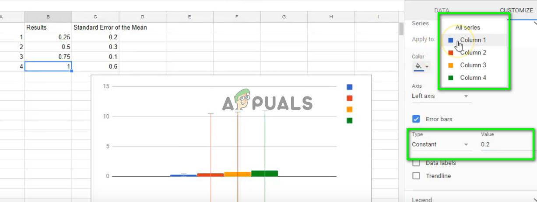 Festlegen von Fehlerbalken für konstante Werte in Google Sheets