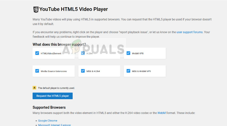 HTML5 Checker in Youtube