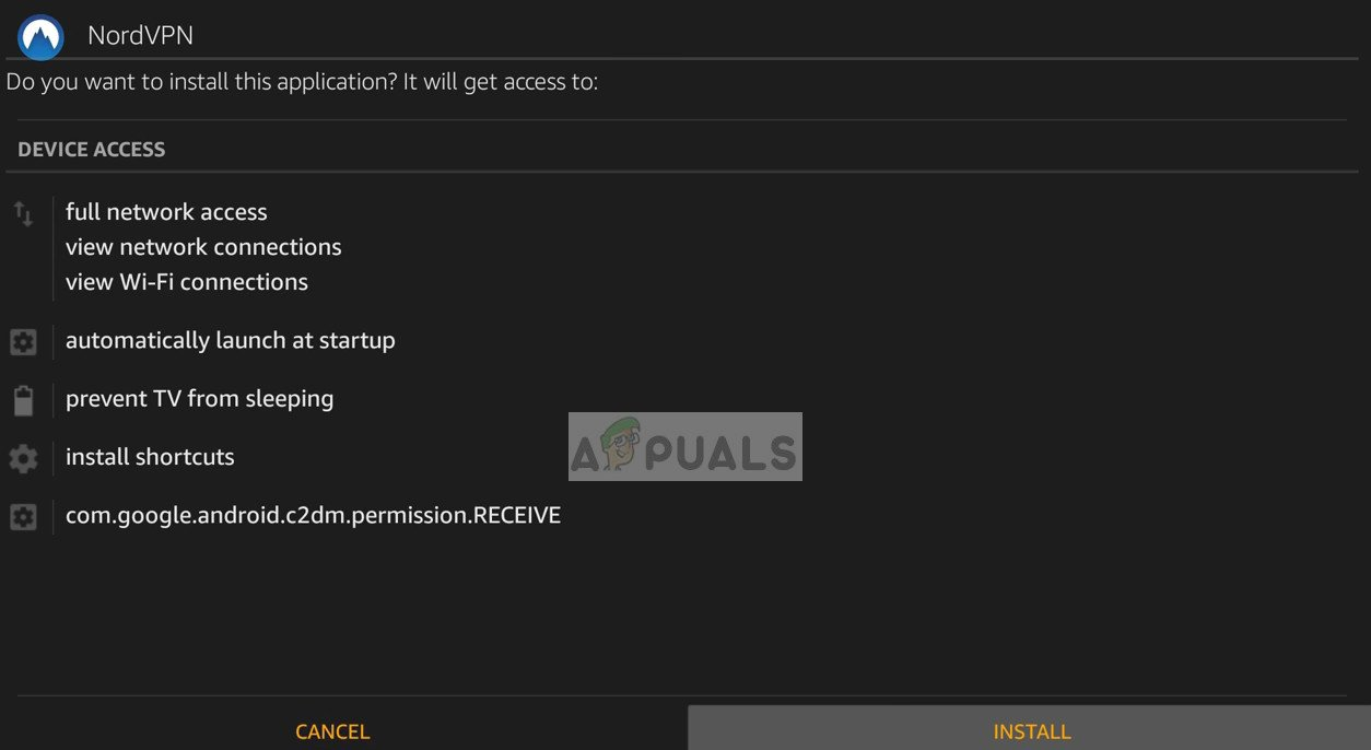 Install the VPN after download in Amazon Firestick