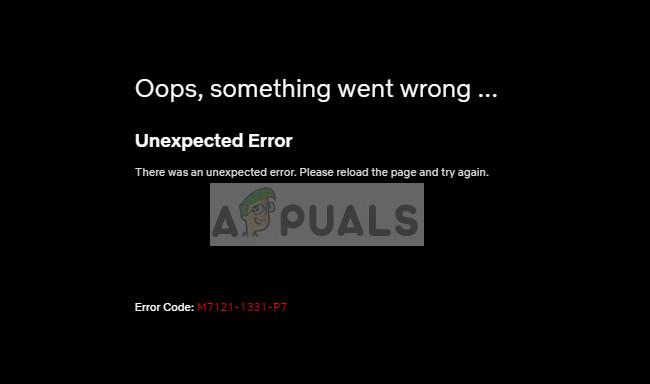 Netflix-Fehlercode M7121-1331-P7 in Google Chrome