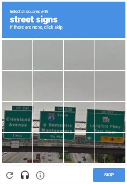 reCAPTCHA von Google beim Zugriff auf E-Mails