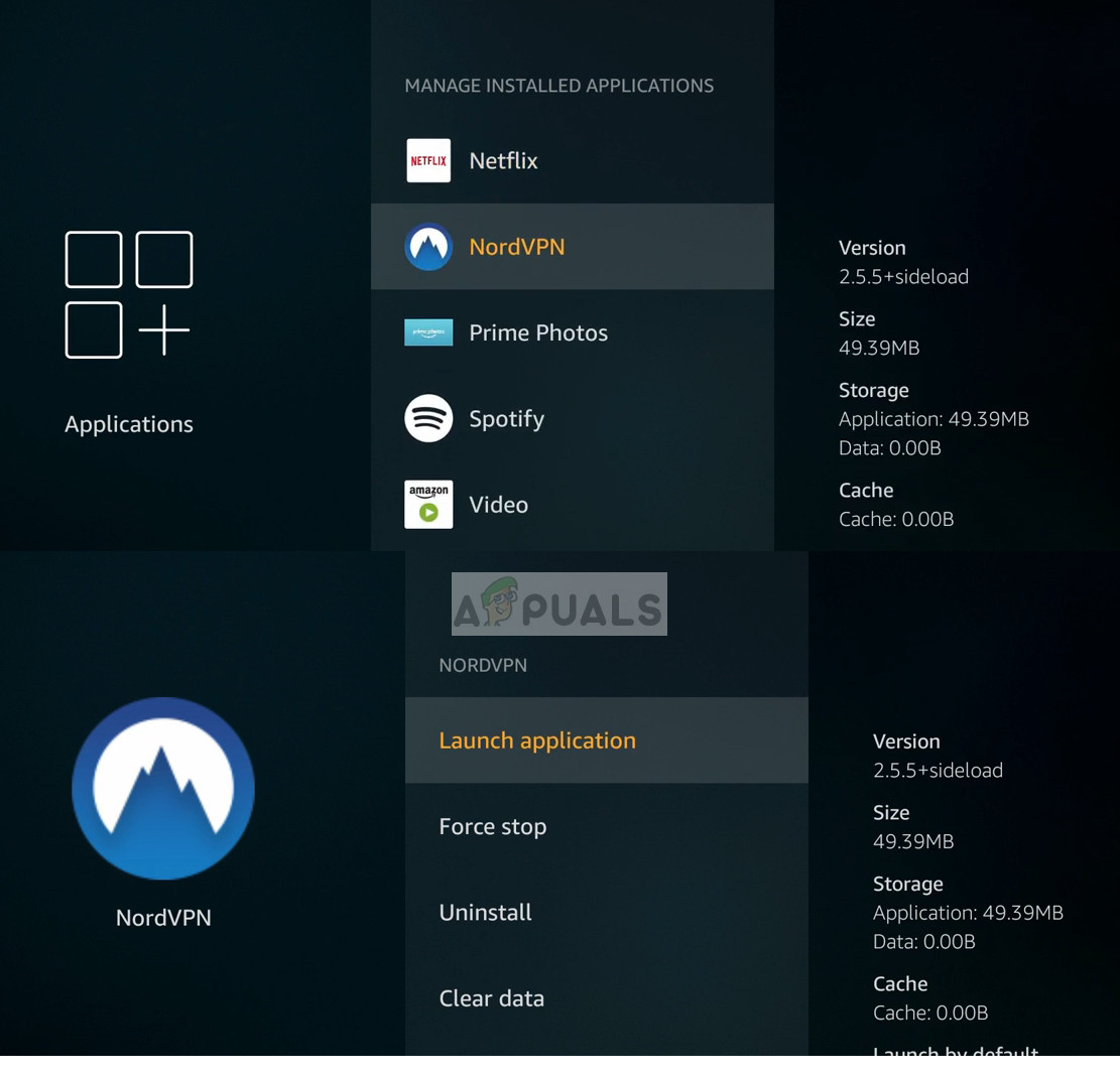 Select and launch the VPN in from manage applications in Amazon Firetv
