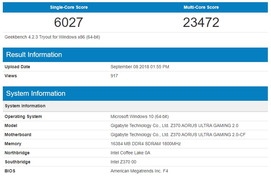 i5 9600K Geekbench Score