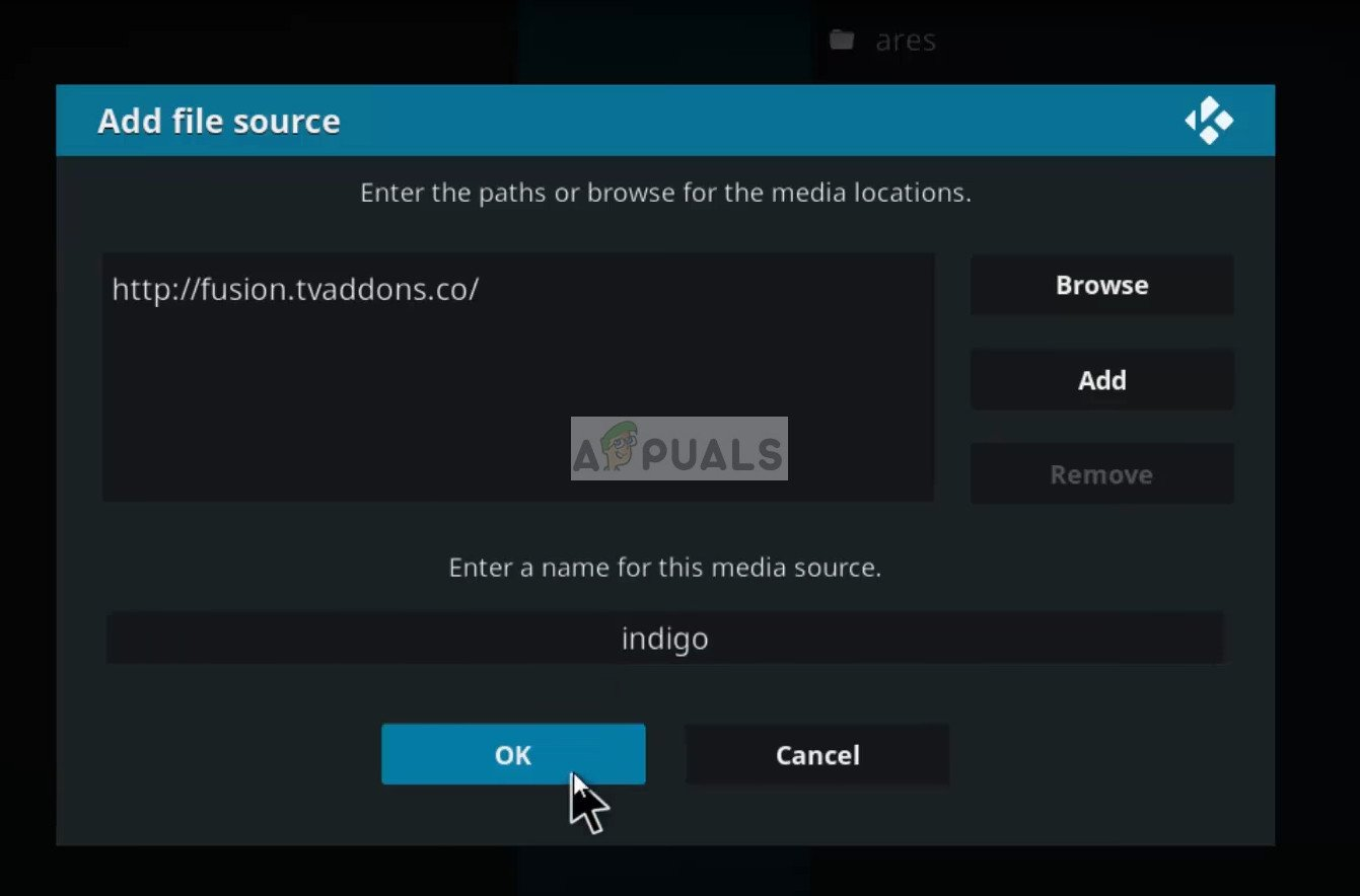 Adding Fusion TV as a file source in Kodi