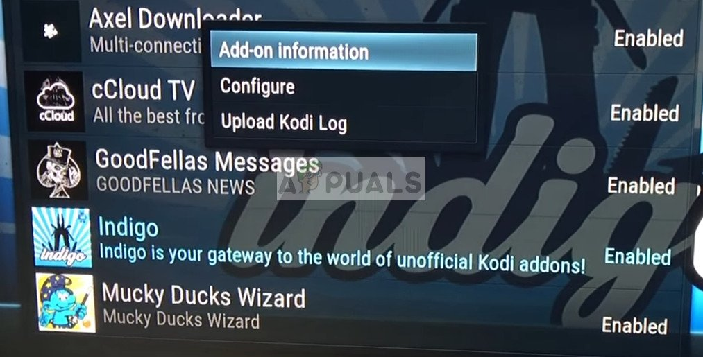 Add-on Information of Indigo on Kodi