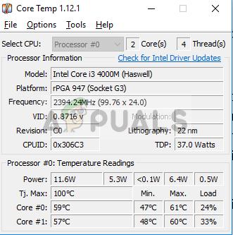 Überprüfen der CPU-Temperatur in der Kerntemperatur