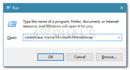 Run dialog: control.exe /name Microsoft.HomeGroup