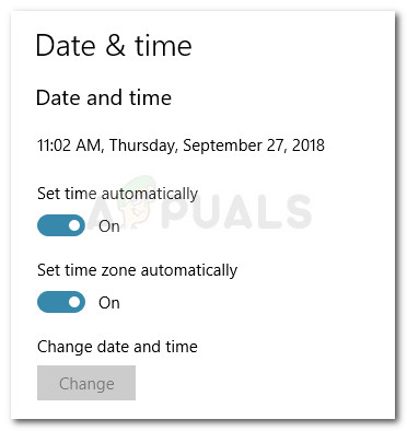 Automatic Date & Timezone settings