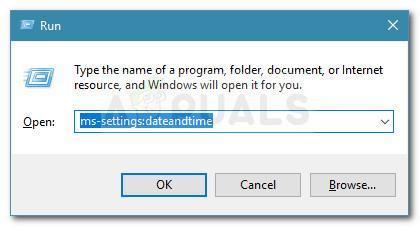 Run dialog box: ms-settings:dateandtime