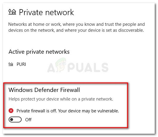 Disable Windows Defender Firewall for your Private Network