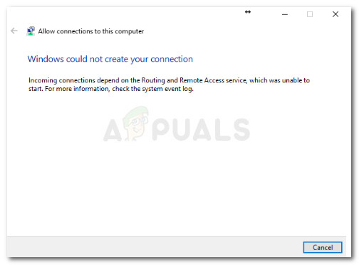 Windows could not create your connection Incoming connections depend on the Routing and Remote Access Service, which was unable to start. For more information, check the system event log.