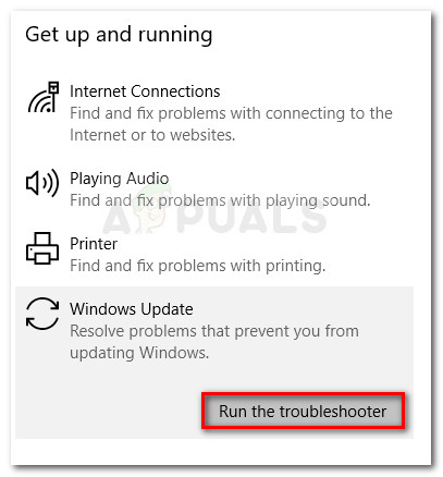 Running the Windows Update troubleshooter