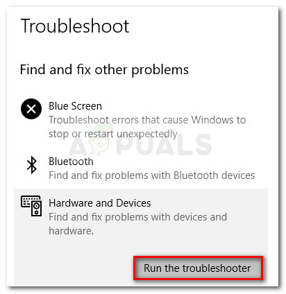 Starting the Hardware and Devices troubleshooter