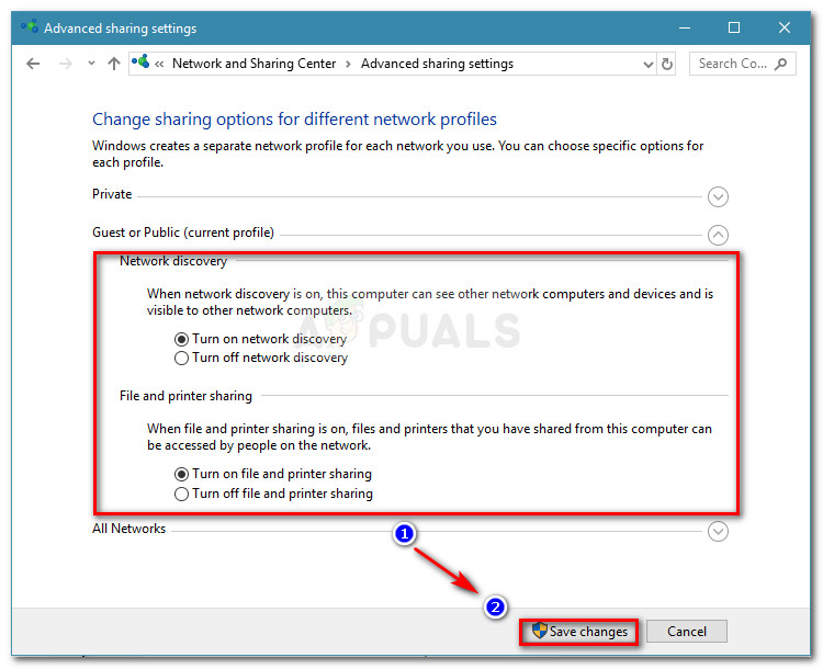 Enable Network Discovery and File and printer sharing