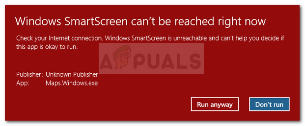SmartScreen can't be reached right now