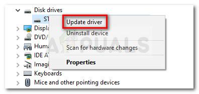 Klicken Sie mit der rechten Maustaste auf das SSD-Laufwerk und dann auf Treiber aktualisieren